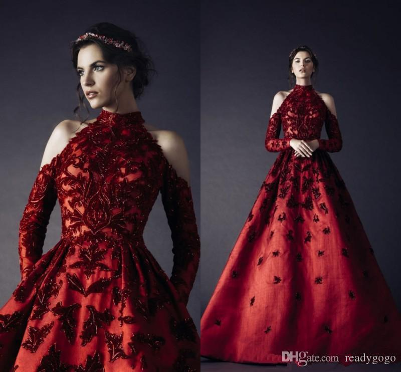 Rami Kadi Dark Red High Neck Prom Dresses Maple Leaf Appliques Long Sleeve Evening Gowns Floor Length A Line Formal Party Cocktail Dresses