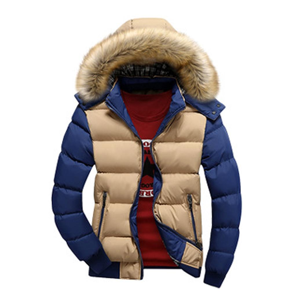 Men's Winter Warm Jackets Casual Detachable Faux Fur Collar Cotton Padded Wadded Patchwork Hooded Coat Fashion Male Slim Outwear