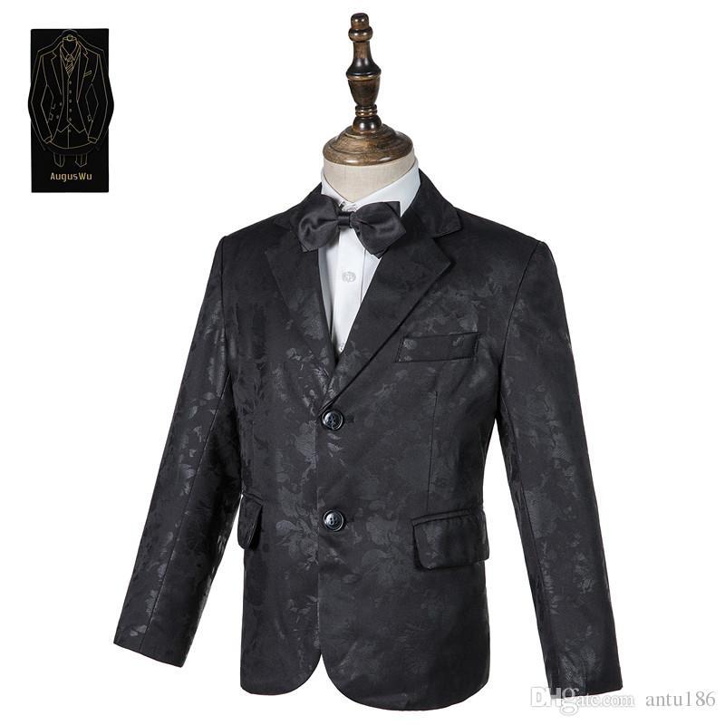 High-end jakarlı çocuk yakışıklı takım elbise üç parçalı takım (ceket + pantolon + yelek) erkek resmi parti topu elbise destek özel