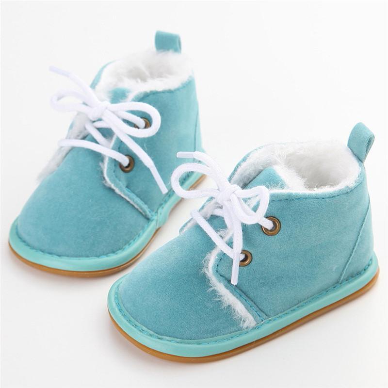 Новое прибытие мода твердые кружева Up Детские сапоги Cross-tied для Весна Осень Зима Детская обувь для теплые плюшевые сапоги обувь