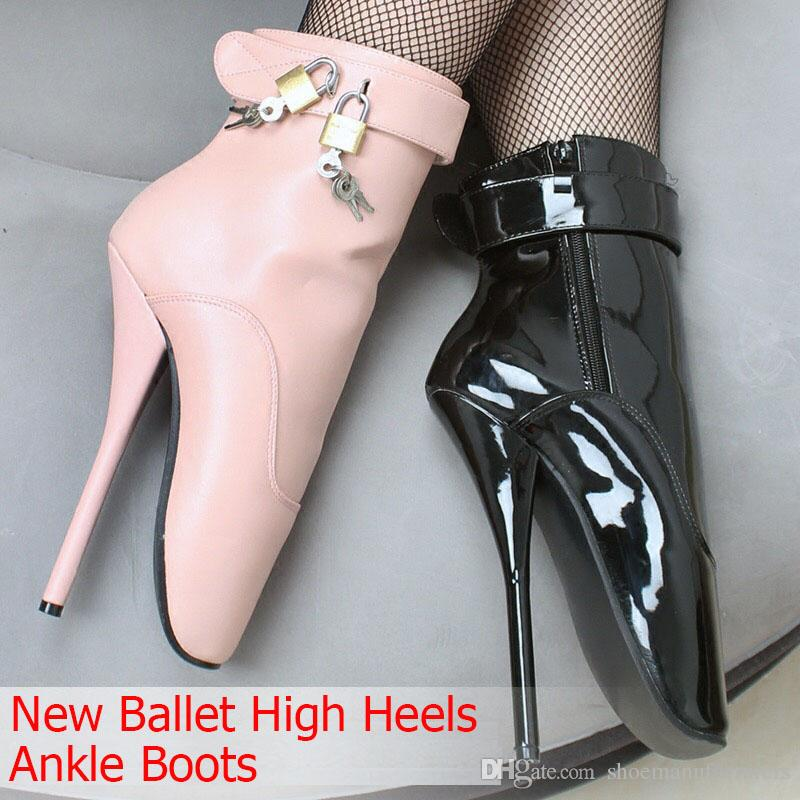Freeshiping DHL Women/Man Sexy Lock 18cm Spike High Heel BALLET Black Shiny Ankle Boots Fetish Shoes ballet boot customize plusSize YYBM-032
