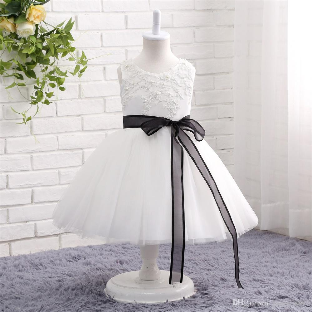 Cheap Sweety white ball gown Flower Girl Dresses for Weddings with black ribbon Tulle tea Length jewel neck Birthday Girls Pageant Dress