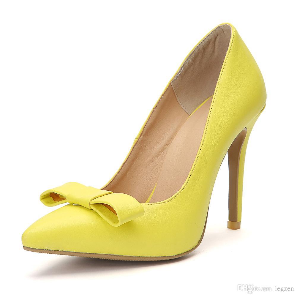 Damen Spitze Pumps Gelb
