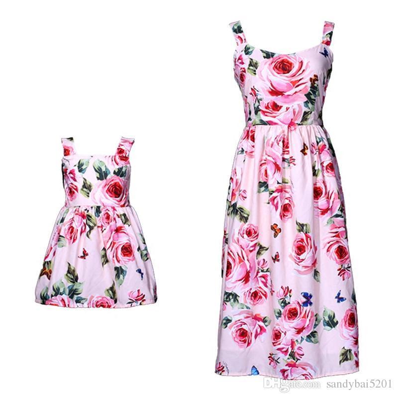 Maman Filles Robe Mère Fille Fleur Robes 2020 D'Été Enfants Filles Robe De Bal Jarretelles Robe Femmes Parti Robe Famille Match Vêtements D866
