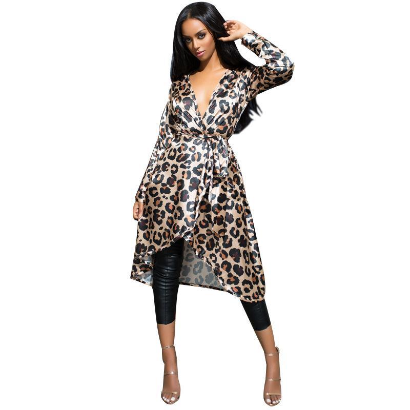 Sexy Leopard Designer Mujer Spring Trench Coat 2018 Slim con cuello en V European Windbreaker Manga completa Autum Streetwear