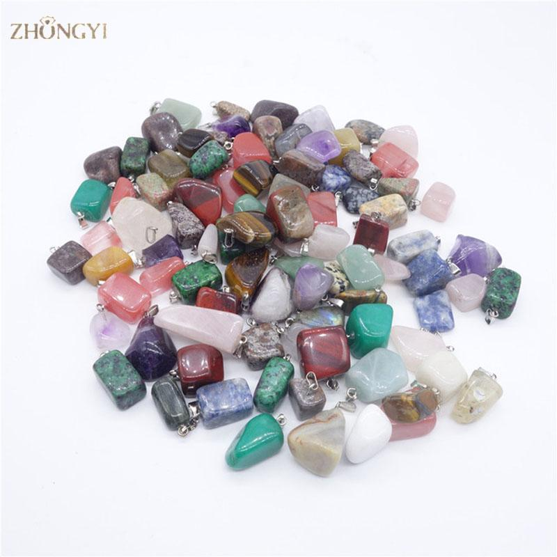hot sale 100pcs/lot mixed Point Natural stone crystal Irregular shape charms pendants mulit color jewelry pendants
