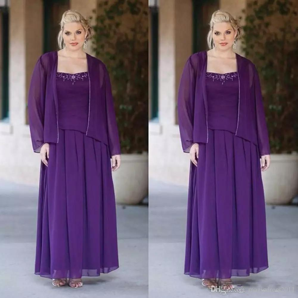 2019 Plus Size Purple Mother Of The Bride Dresses Two Pieces Chiffon Jacket Spaghetti Strap Floor Length Beaded Wedding Guest Dress
