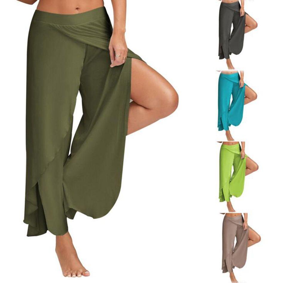 Yoga Geniş Bacak Pantolon Gym Spor Spor Pantolon Yan Yarık Rahat Pantolon Yaz Gevşek Bloomers Yüksek Bel Dans Pantolon 10 Renkler OOA4042