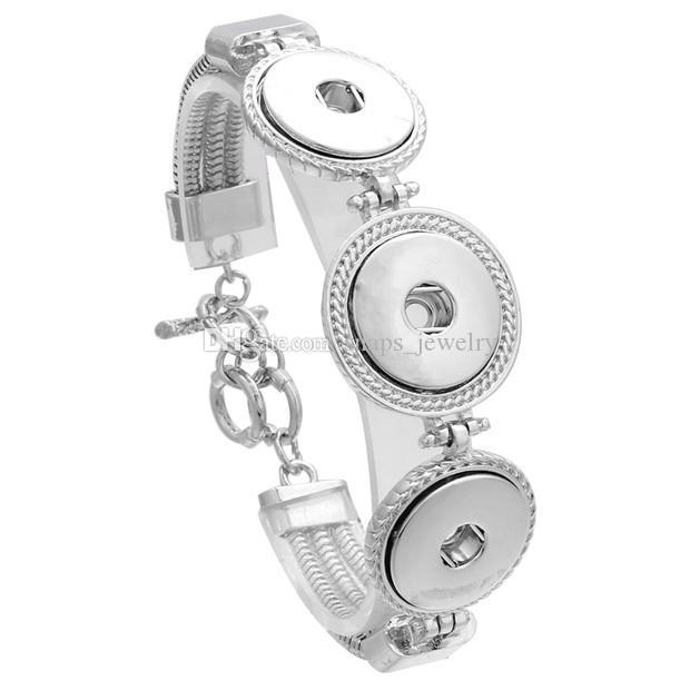 Noosa Chunks металл три кнопки 18 мм кнопочный браслет для женщин ювелирные изделия кнопки оснастки