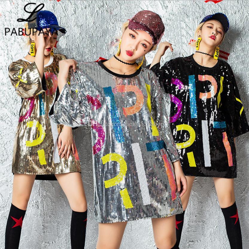 Hello528shop Sequins Gece Kulübü DS Hip Hop Kostüm Performans Payetli Dans Yetişkin Caz Yaka Gömlek Bayanlar Tops