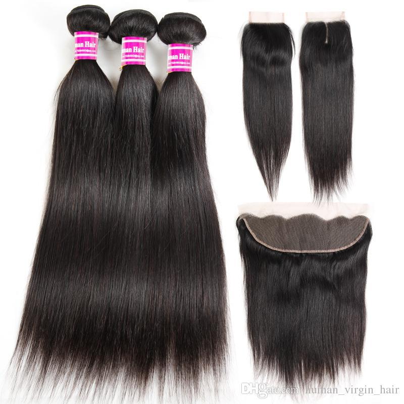 Ucuz Düz 8A Brezilyalı İnsan Saç Paketler ile Frontal% 100% İşlenmemiş Virgin Saç Atkılar Demetleri ile Kapatma Uzantıları Toptan