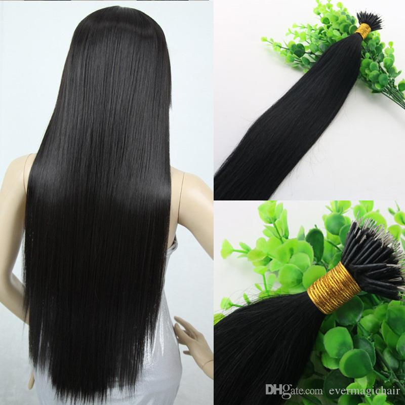 Natural Color Black Proste włosy 9a Brazylijskie przedłużanie włosów 14inch-26inch 100strands 100Gram Nano Ring Human Hair Extensions