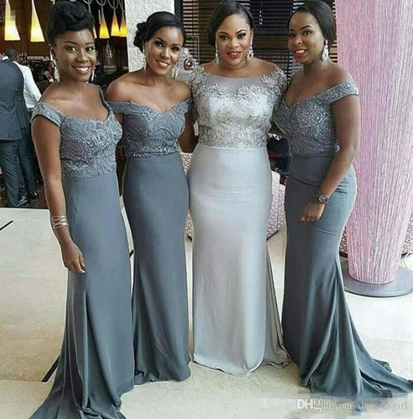 Vestidos de dama de honor grises para niña negra con hombros descubiertos Top de barrido de tren Vestidos de fiesta de boda de talla grande árabe