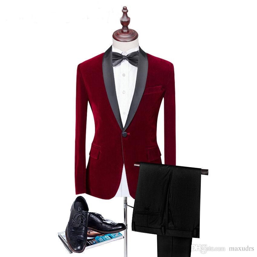 Sıcak satış Kırmızı Kadife Adam Adam elbise Suits 2 Psc Doruğa Yaka düğün takım elbise Klasik tarzı Siyah Suits Için Parti ...