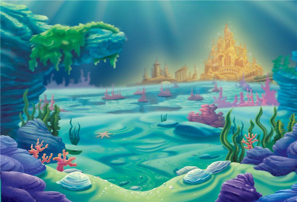 Princesa Sirenita Bebé Niños Fiesta de cumpleaños Telón de fondo Impreso Oro Castillo Bajo el mar Corales Niños Fotografía de dibujos animados Fondos