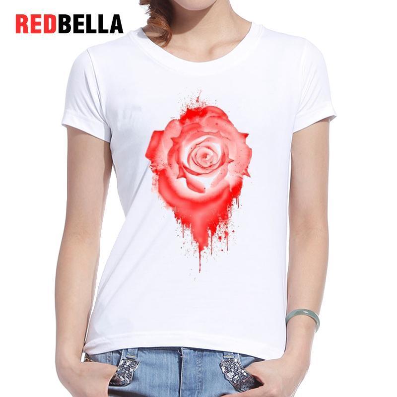 Women's Tee Redbella T-shirt 2017 Women Autumn Rose Flower Red Art Irregular Shape Oil Painting Elegant Short Sleeve Cotton Casual Clothes