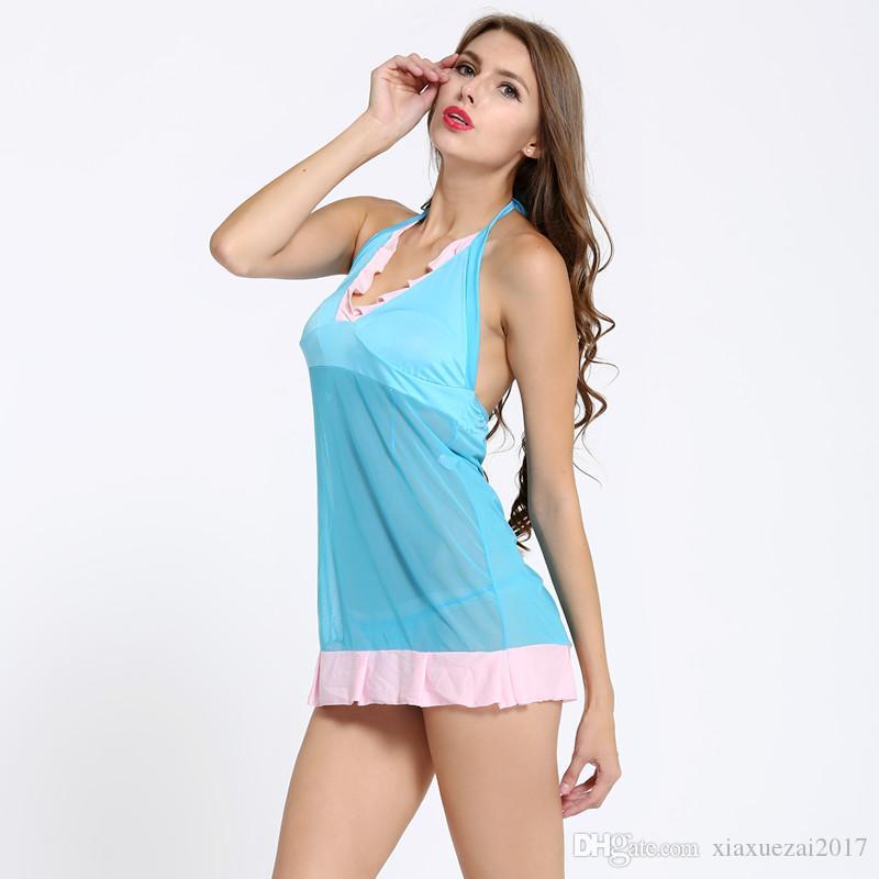 Été Sexy Mini Robes Bleu RufflesA Ligne Dress Halter Dos Nu Swimm Beach Dress Nouveau Arrivez Vente chaude pure body sexy vêtements de nuit