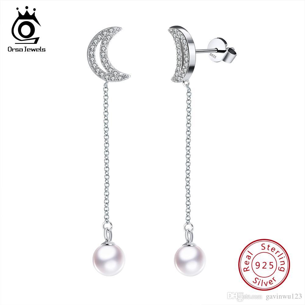ОРСа ювелирные изделия настоящее стерлингового серебра женщин серьги длинные мотаться серьги культивированный жемчуг с цепочкой Луна линию женских украшений SE61