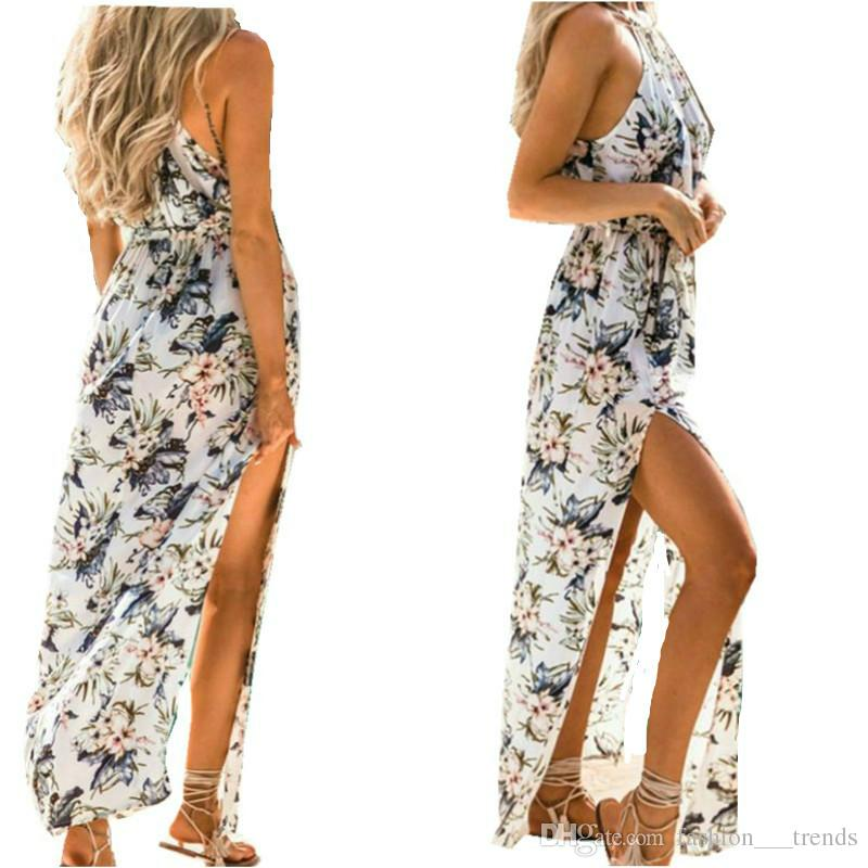 Summer Dress Womens Elegant Wedding Party Sexy Night Club Halter Neck Sleeveless Bodycon Boho Floral Dress Long Sundress Beach Maxi Dresses