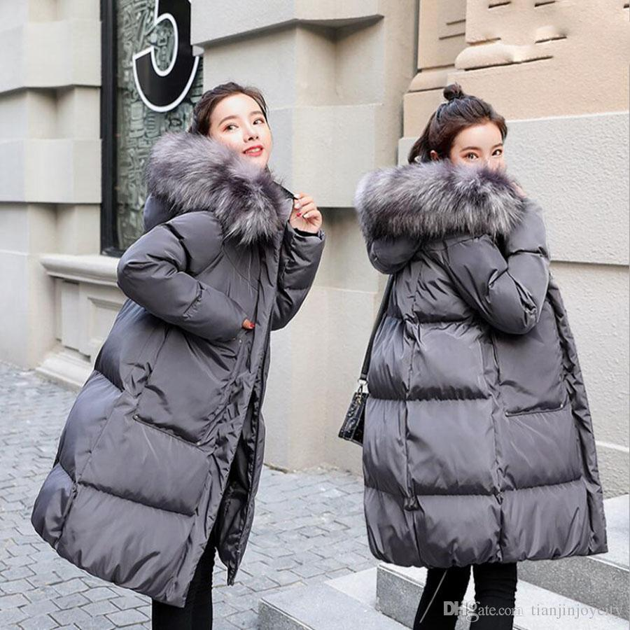 Women's winter knee-high cotton long style coat new MOM thickening jacket pregnant fur collar fat MOM clothes maternity outwear