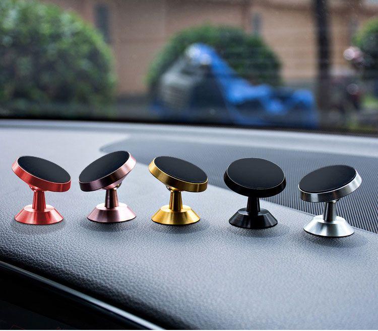 Vehicle mobile phone magnet bracket strong magnetic 360 rotary automobile navigation bracket affixed aluminum alloy