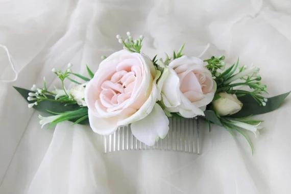 Ipek Çiçek Gelin saç tarak Şeftali krem güller, Düğün saç aksesuarları, Photoshoot için Saç çiçekler, parti