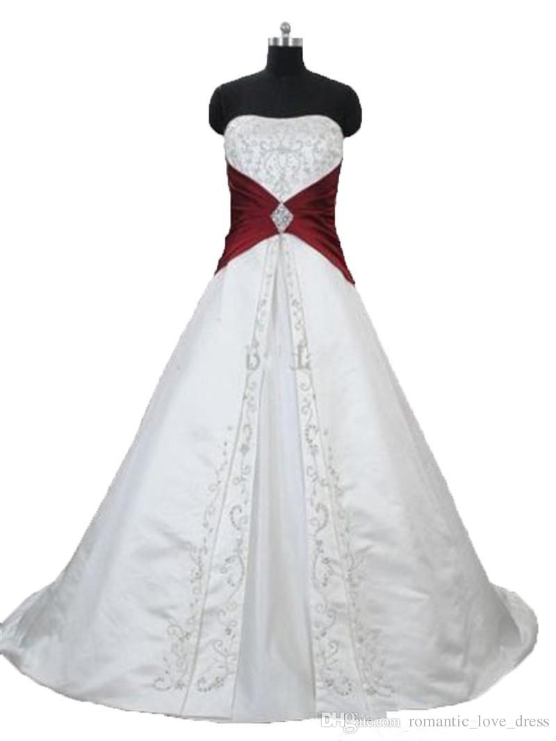 White and Red Embroidery Wedding Dresses 2019 Real Image New Sweep Train Strapless A-Line Satin Bridal Gowns Vestido De Novia Hot Sales W300