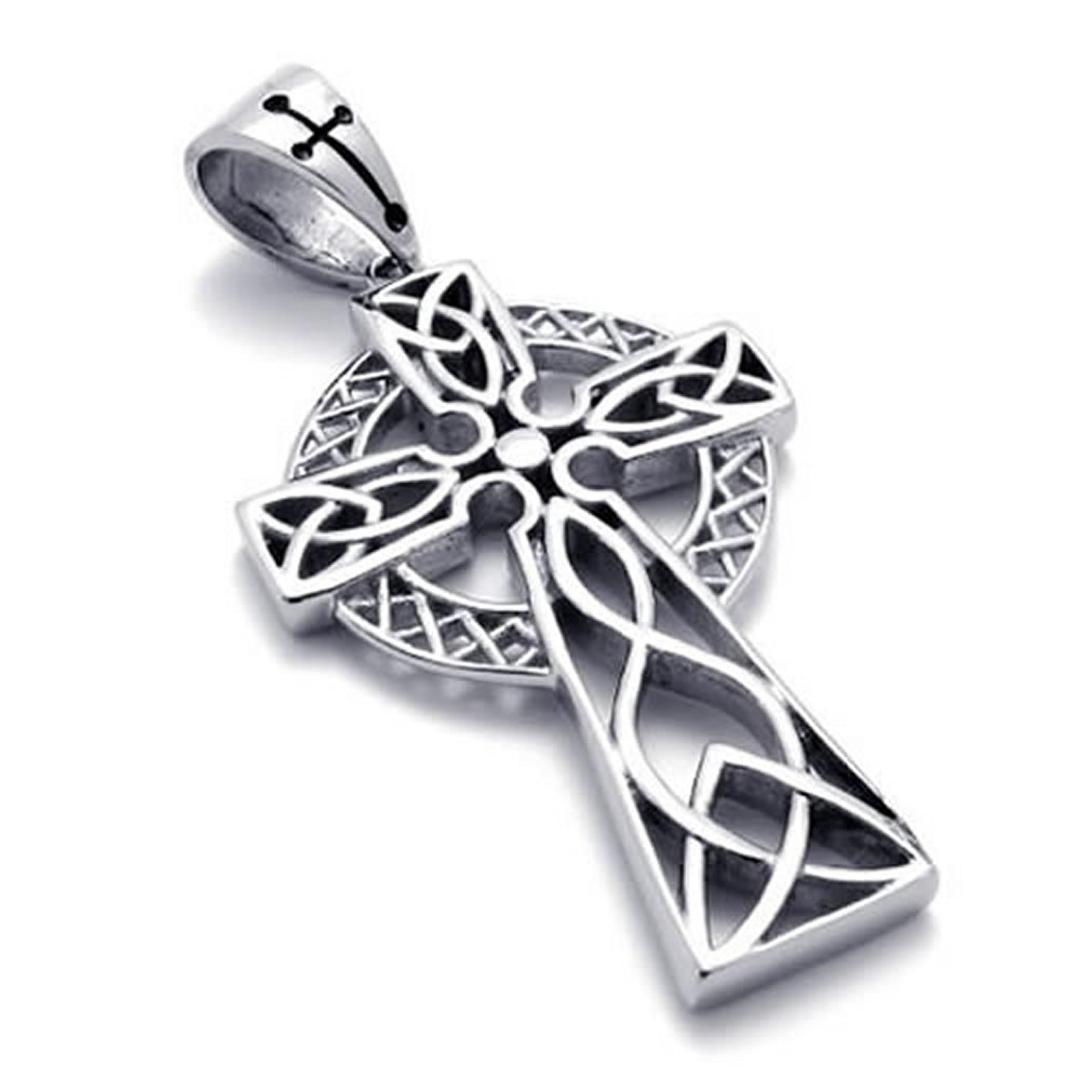 Ze Stali Nierdzewnej Irlandzki Knot Celtic Cross Mens Damska Naszyjnik Wisiorek 24 cali Łańcuch
