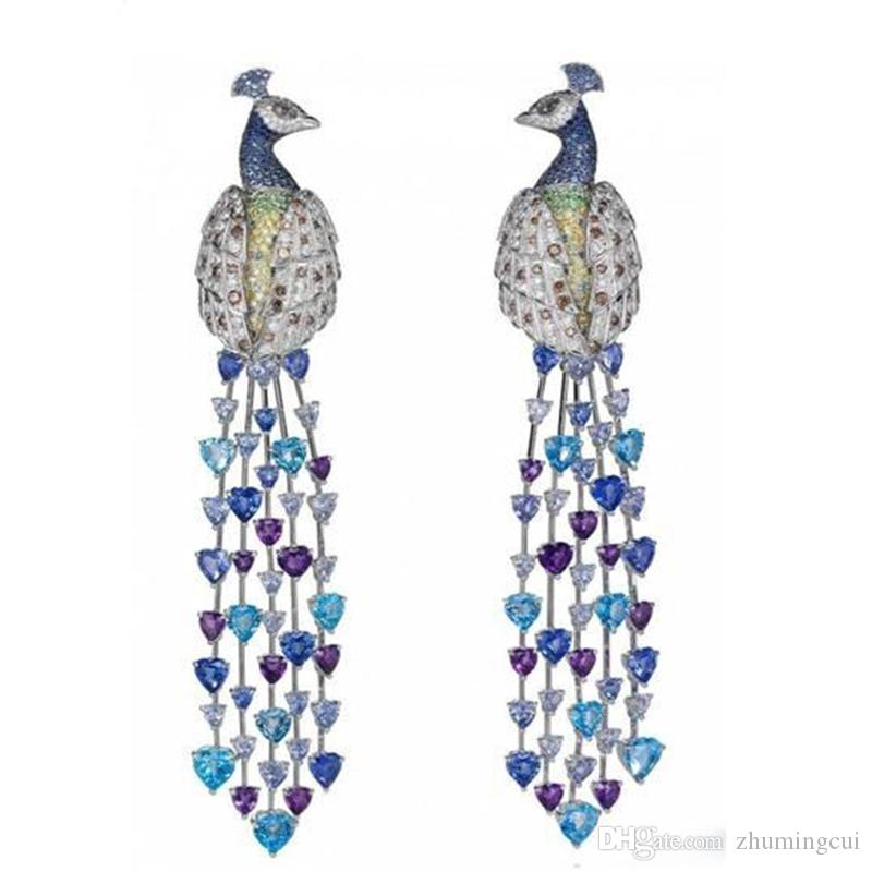 Derongems_Luxury Micropaved Colorful Gemstone Peacock Tessel Earrings_S925 Sterling Silver Colorful Party Earrings_Facotry Directly Sales