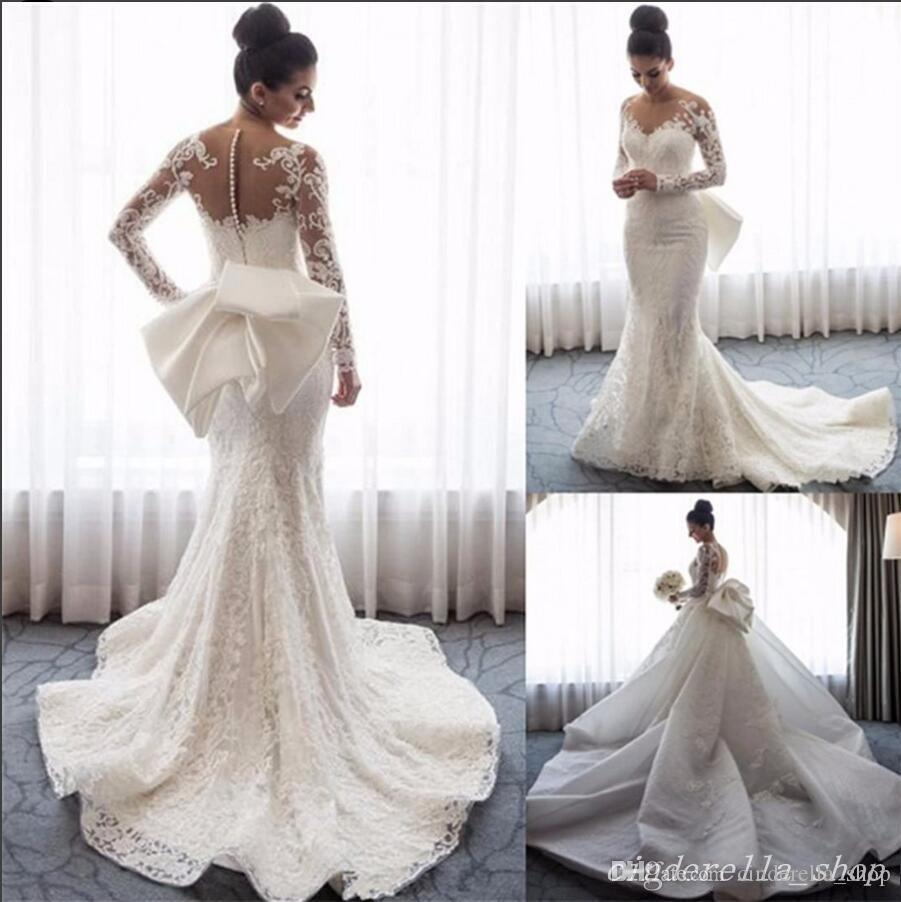 Princess Arabic Mermaid Wedding Dresses With Detachable Train Long Sleeve Jewel Sweep Train Big Bow Lace Bridal Gowns Garden Chapel Country