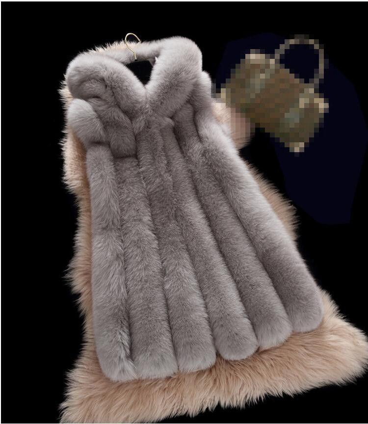 Invierno Artificial chaleco nueva llegada capa de la manera de las mujeres de importación Escudo chaleco de piel de alto grado de la piel de imitación de largo más el tamaño S-4XL