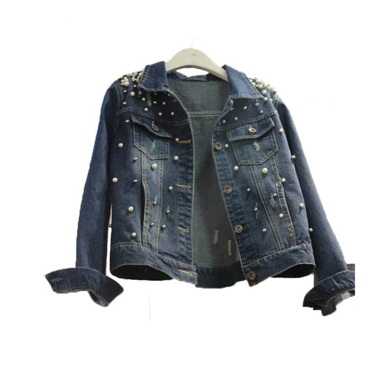 S-5XL Plus Size Jeans Jacket Oversized Denim Women Jacket 2018 Spring Jeans Coats Outwear Chaquetas Mujer Beaded Female Jackets
