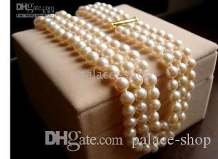 тройной нити 8-9мм кремовый белый жемчуг Акойя ожерелье