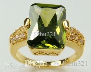 перидот Кристалл 14 K желтое золото кольцо / size8