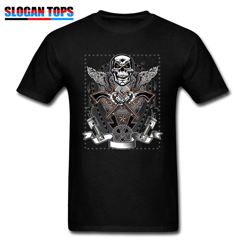 Men's Tshirts Punk Rock Skull T Shirt Print Men Punk Style Clothes Guns Movie Black T-shirt Short Sleeve Cotton Tops Tees Funky
