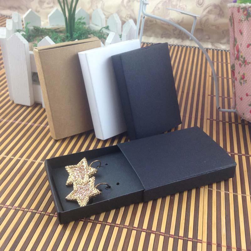 Carta di gioielli 100pcs + 100pcsbox 7,5 * 5,4 * 1,2 centimetri regalo cassa dell'orecchino della corrispondenza del pendente, logo personalizzato: 1000 pz costo extra scatola di gioielli sapone libero shippi