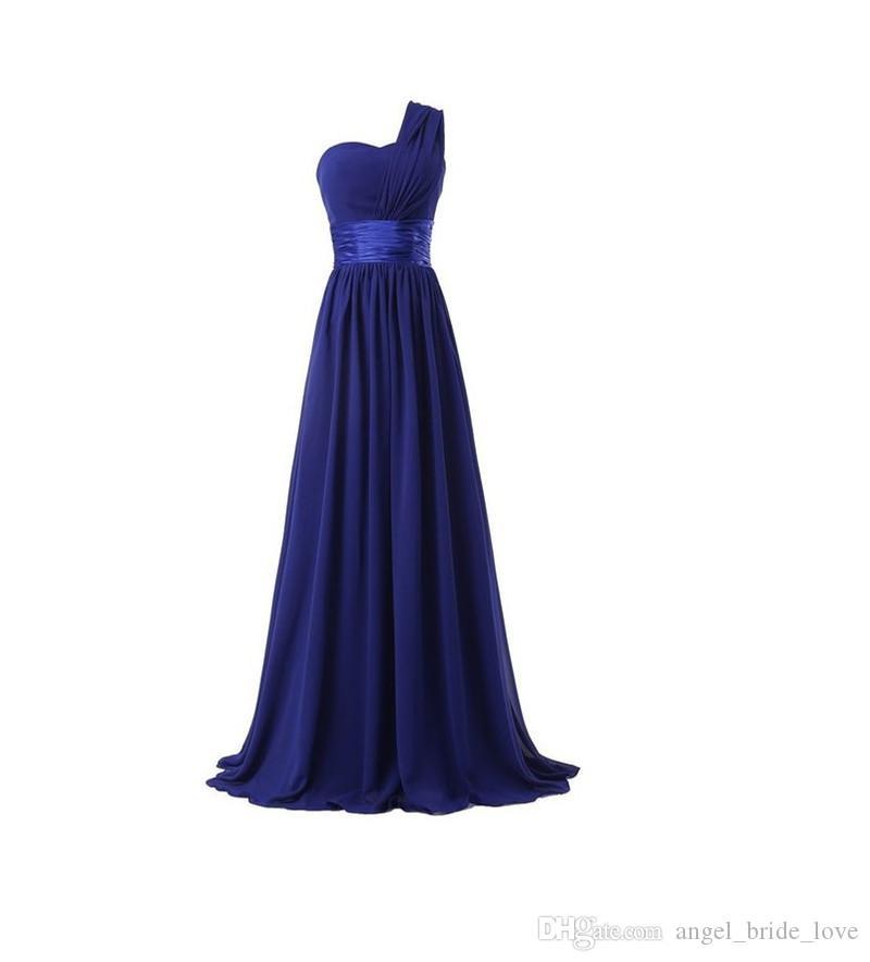 2018 Ucuz Seksi Kraliyet Mavi Tek Omuz A-Line Uzun Gelinlik Modelleri Şifon Artı Boyutu Parti Elbiseler Örgün Törenlerinde Vestido De Festa BP15