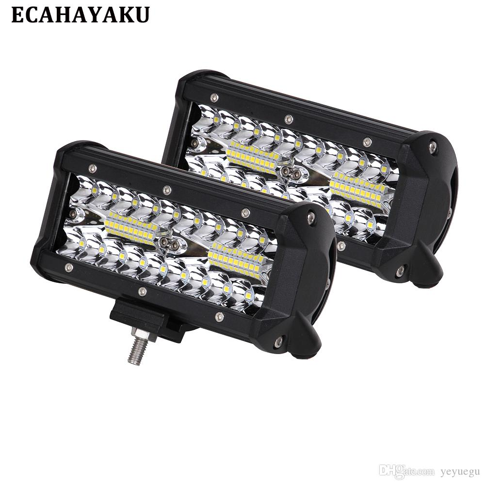 2Pcs 7Inch Offroad 120W LED Worklight 3-Row Spot Flood Combo Auto Led Light Bar For ATV Lada Niva 4x4 Boat Bar 12V 24V