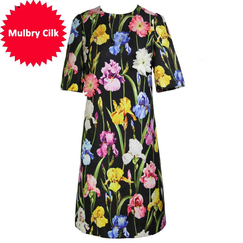 Nuovo vestito da estate 2018 Fashion Runway Summer Dress manica corta nero Vintage Floral Dress Slim elegante vestidos