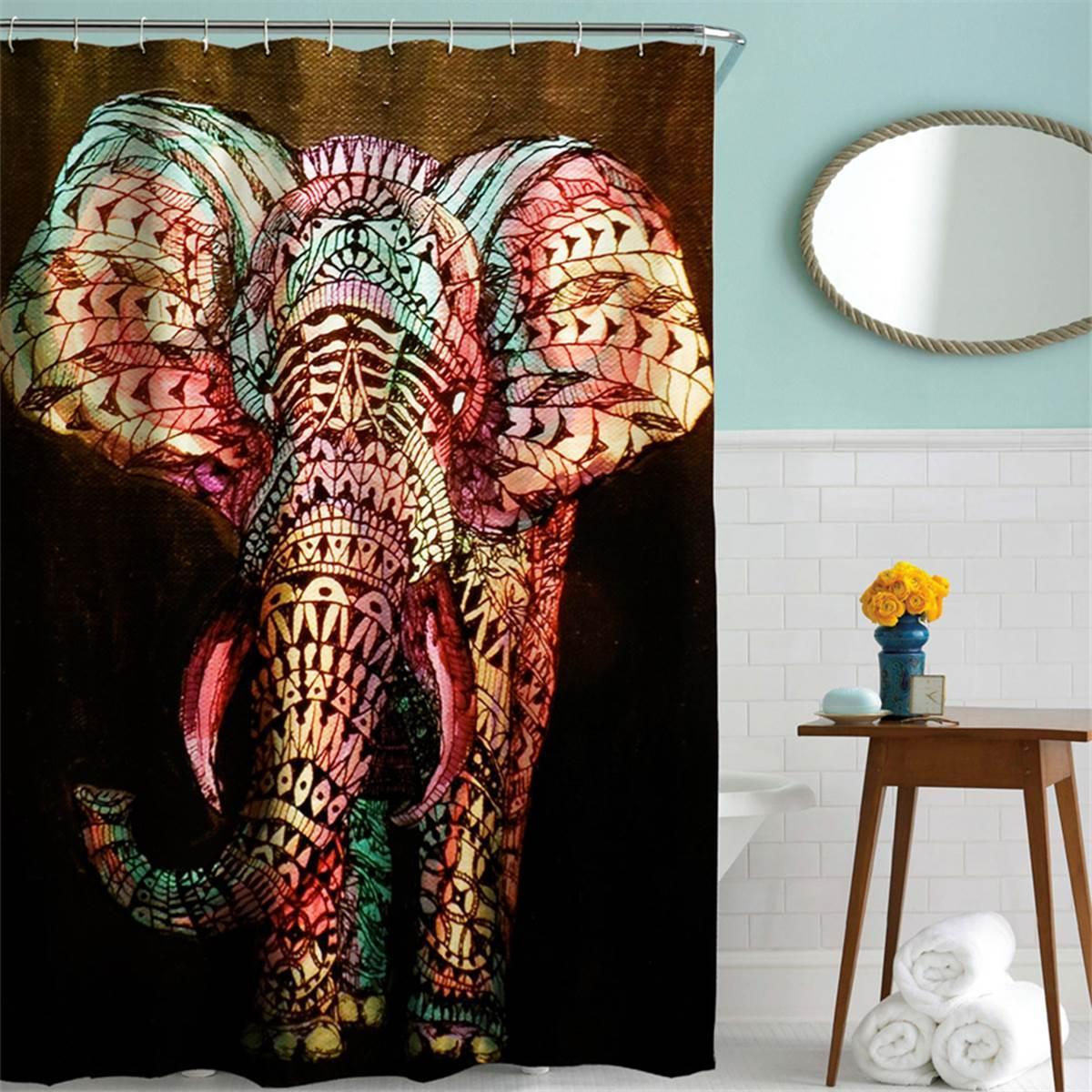 2019 180x180cm Polyester Elephant Shower Curtain Hooks Set Shower Panel Sheer Cover Home Bathroom Screen Decorative Accessories From Kepi4 35 82