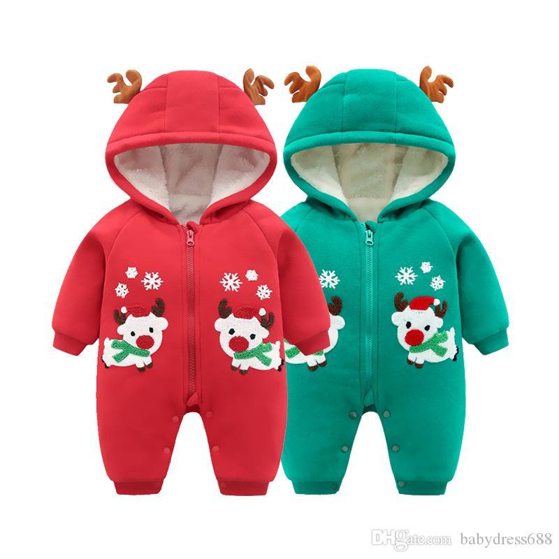 키즈 의류 새 가을 겨울 두꺼운 따뜻한 아기 Onesies 신생아 베이비 Unisex 유아 의류 Jumpsuit 엘크 크리스마스 코튼 후드 도매