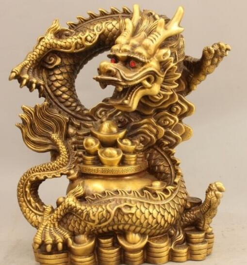 Chine Dynastie Feng Shui Pur Cuivre Richesse Yuanbao Bol au trésor Dragon Statue