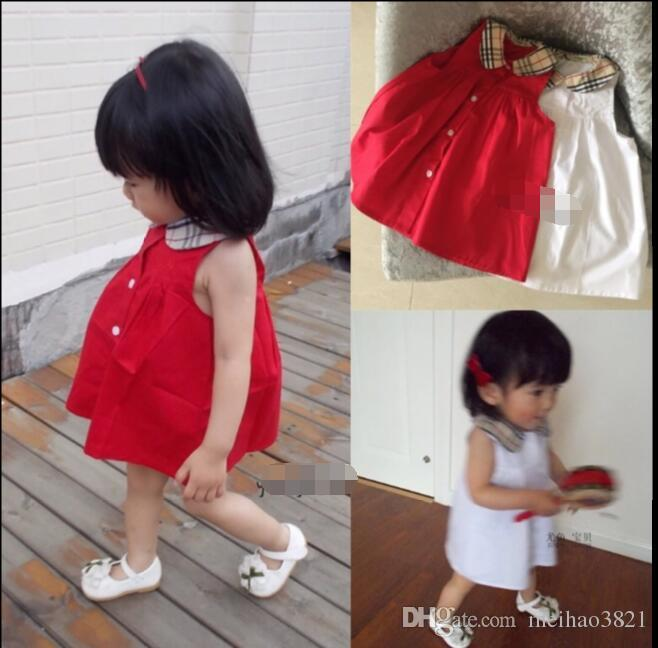 2018 жаркое лето дети платья мода девушки отворотом милый ребенок платье юбки 3 м - 2 лет Бесплатная доставка