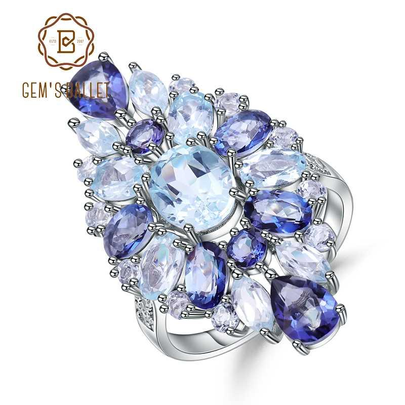 925 Sterling Silver Multicolor Gemstone Cocktail Ring