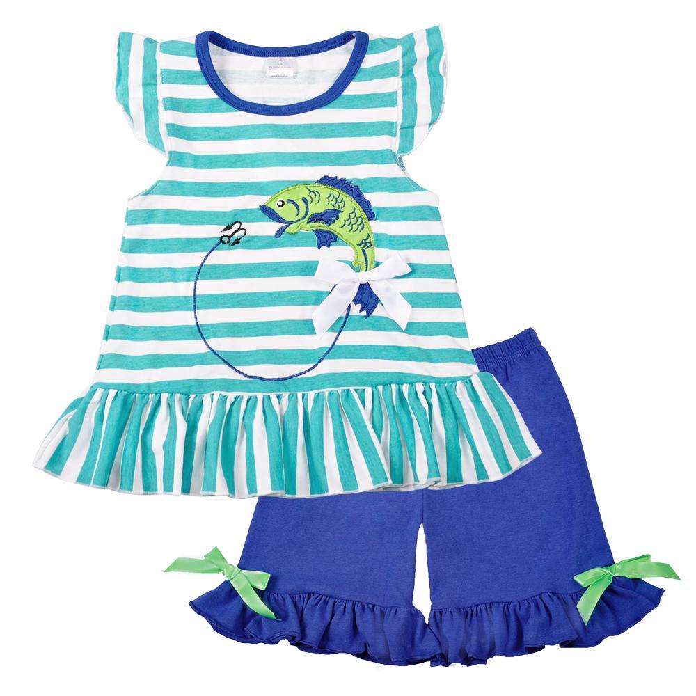 Оптовая девочка одежда лето синий без рукавов топ рыбы вышивка декор шаблон мода рябить шорты соответствия мальчик футболка Y1892807