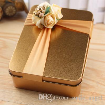 Новые горячие продажи металлические конфеты коробки квадрат с флорой лук золотой свадьба красивая одолжение коробка подарочная коробка для гостей свадебные принадлежности