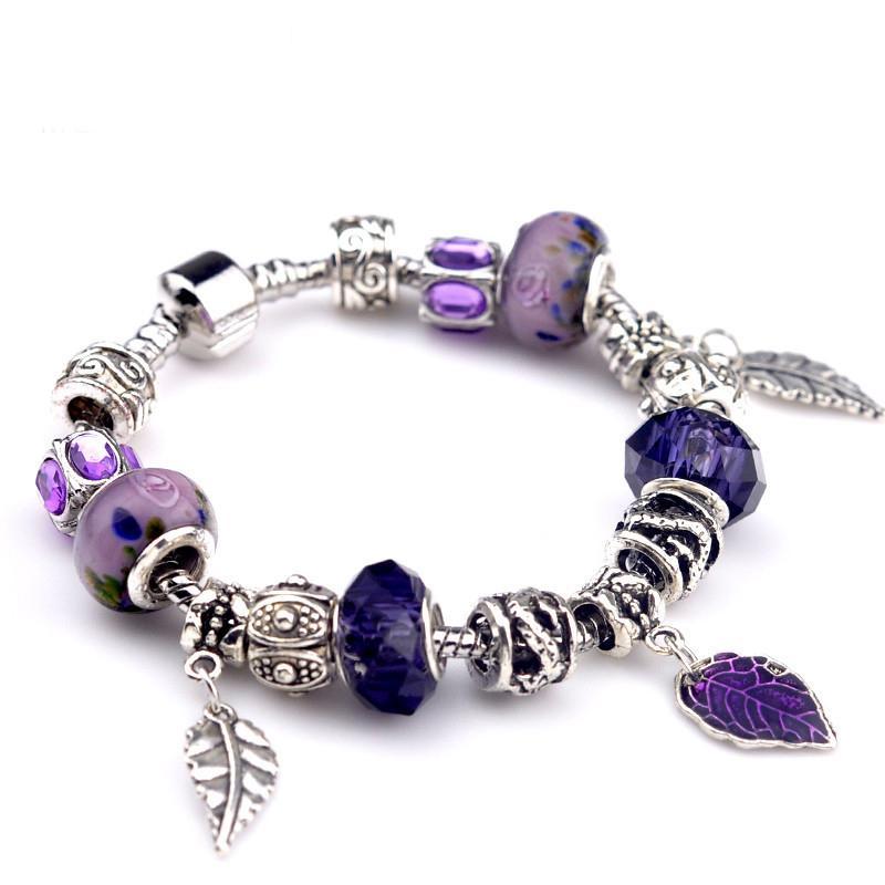 Retro Leaves Charm Bracelet Silver Color Purple Crystal Beads Bracelets & Bangles Fashion Women Jewelry Gift wholesale