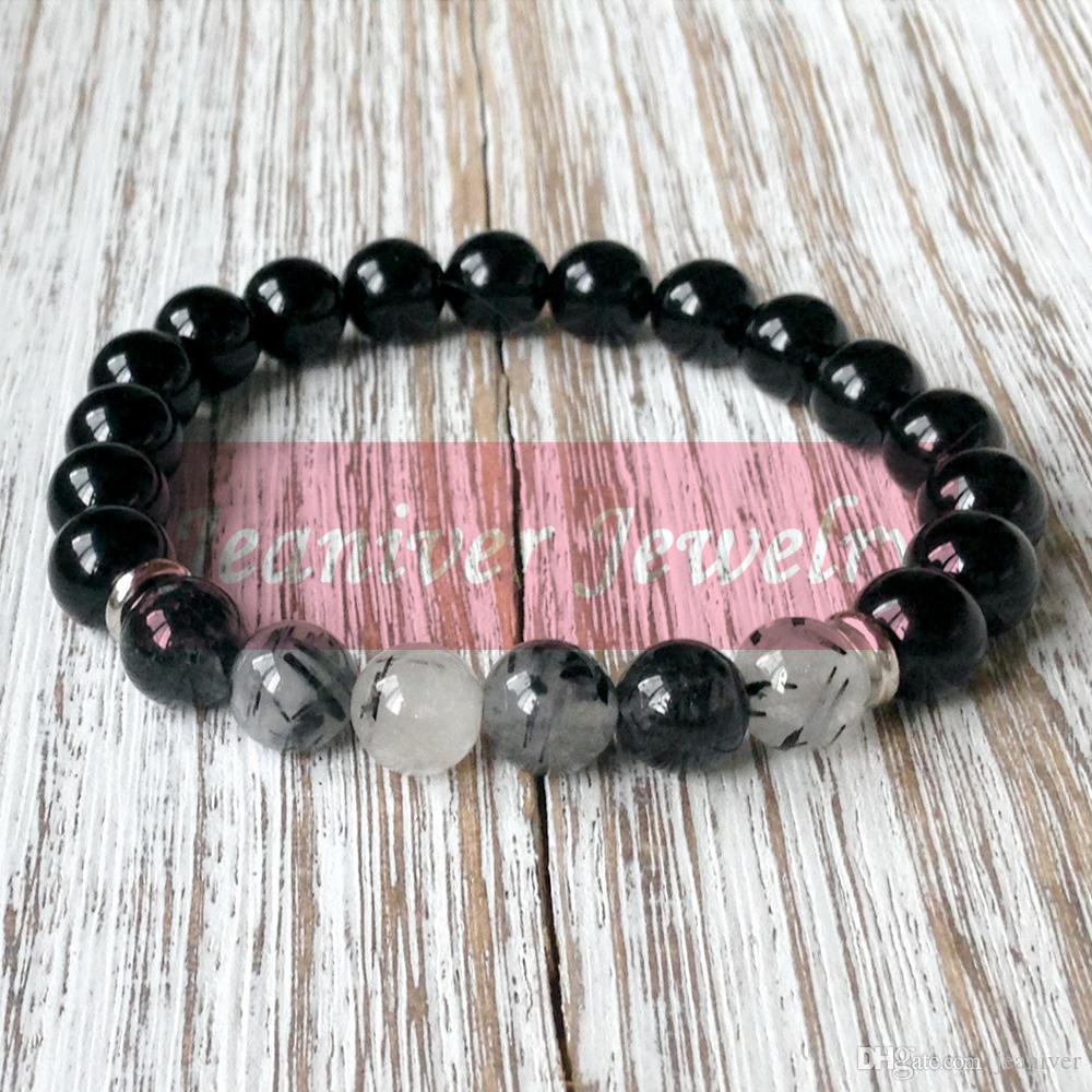 Jeaniver 2019 En vente Bracelet Pierre Naturelle Haute Qualité Yoga Énergie Bracelet Noir Onyx Bracelet tendance quartz rutile