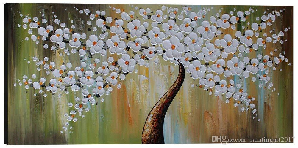Hand Painted Wall Art Canvas Oil Painting Decor Large Picture for Living Room Abstract Decoration White Plum Blossom Flower Tree Salon Home