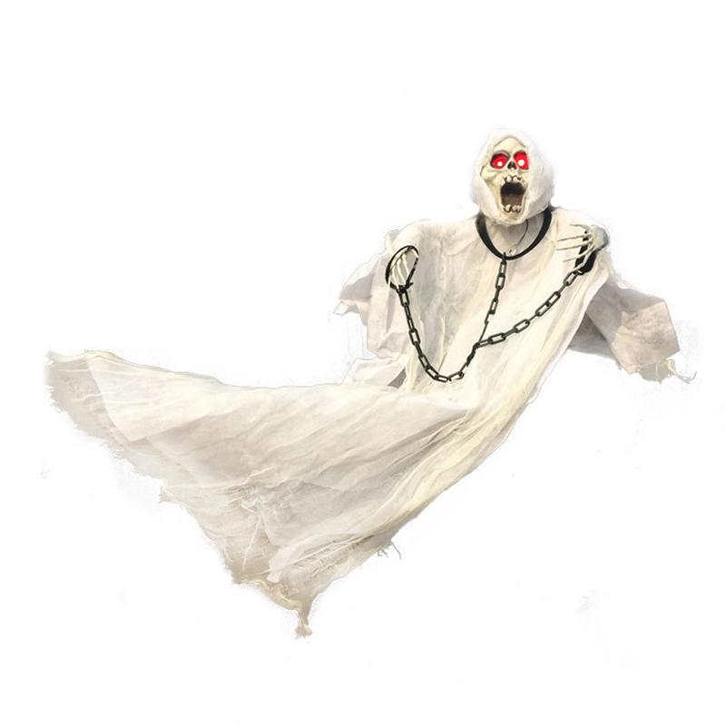 36inch 90cm Tall White Halloween Decoration Hanging Ghost with Chain Light up Eyes Sound and Sensor for Halloween Props Y1891202